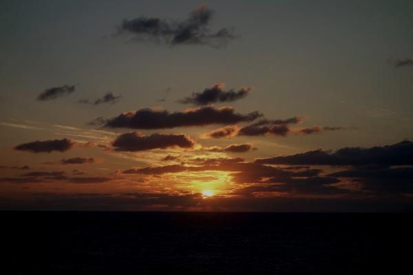 海上での夕日